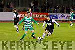 Tussle for possession between Steven McCarthy of Killarney Celtic A's and Jason Kerins of Killarney Celtic B in the Celsius Mens Cup final.