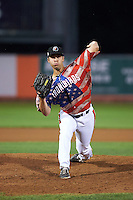 Aberdeen Ironbirds pitcher Daniel Ayers (25) delivers a pitch during a game against the Tri-City ValleyCats on August 6, 2015 at Ripken Stadium in Aberdeen, Maryland.  Tri-City defeated Aberdeen 5-0 in a combined no-hitter.  (Mike Janes/Four Seam Images)