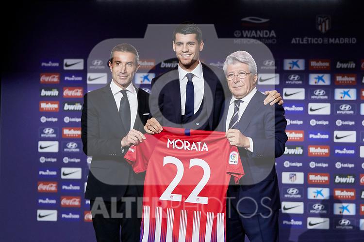 Alvaro Morata and Enrique Cerezo during the official presentation of Alvaro Morata as new player of Atletico de Madrid at Wanda Metropolitano Stadium in Madrid, Spain. January 29, 2019. (ALTERPHOTOS/A. Perez Meca) (ALTERPHOTOS/A. Perez Meca)