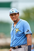 FCL Rays first baseman Freddvil Chevez (85) during a game against the FCL Pirates Gold on July 26, 2021 at LECOM Park in Bradenton, Florida. (Mike Janes/Four Seam Images)