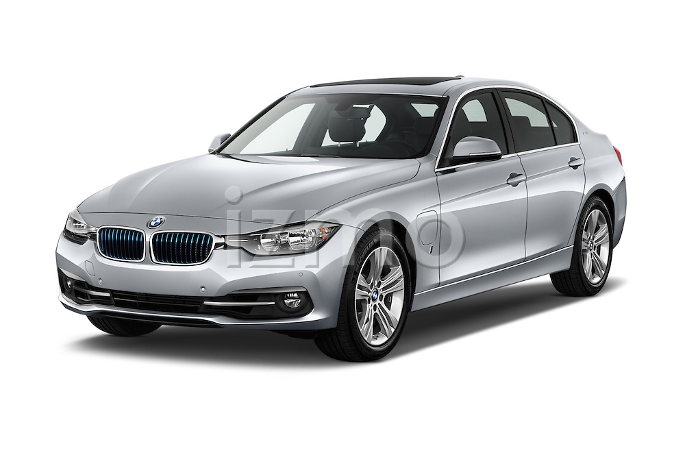 2017 BMW 3-Series-Plug-In-Hybrid Sport 4 Door Sedan Angular Front stock photos of front three quarter view