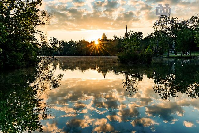 July 26, 2016; Sunrise over St. Mary's Lake (Photo by Matt Cashore/University of Notre Dame)