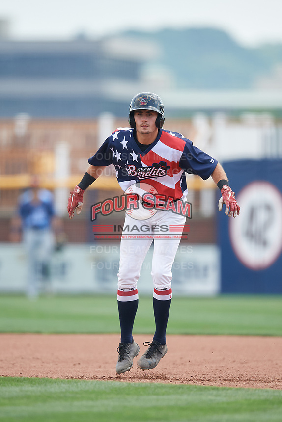 Quad Cities River Bandits designated hitter Jonathan Lacroix (13) leads off first base during a game against the West Michigan Whitecaps on July 23, 2018 at Modern Woodmen Park in Davenport, Iowa.  Quad Cities defeated West Michigan 7-4.  (Mike Janes/Four Seam Images)