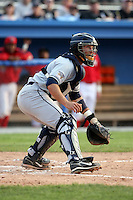 June 21st 2008:  Catcher Doug Pickens of the Mahoning Valley Scrappers, Class-A affiliate of the Cleveland Indians, during a game at Dwyer Stadium in Batavia, NY.  Photo by:  Mike Janes/Four Seam Images