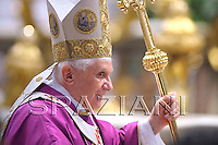 Pope Benedict XVI leads a special mass to mark the fourth anniversary of the death of Pope John Paul II in St. Peter's Basilica at the Vatican April 2, 2009.