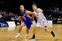 Taane Samuel of the Wellington Saints dribbles the ball during the NBL match between the Wellington Saints and the Auckland Huskies at TSB Bank Arena, Wellington, New Zealand on Friday 28 May 2021.<br /> Photo by Masanori Udagawa. <br /> www.photowellington.photoshelter.com