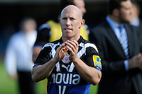 Peter Stringer of Bath Rugby thanks the fans after the Aviva Premiership match between Bath Rugby and Leicester Tigers at The Recreation Ground on Saturday 20th April 2013 (Photo by Rob Munro)
