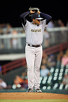 Trenton Thunder relief pitcher Jose Mesa Jr. (47) delivers a pitch during a game against the Richmond Flying Squirrels on May 11, 2018 at The Diamond in Richmond, Virginia.  Richmond defeated Trenton 6-1.  (Mike Janes/Four Seam Images)
