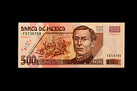 Mexico, North America.  Five Hundred Pesos Banknote, showing Ignacio Zaragoza, Mexican general who defeated the French in the Battle of Puebla, Cinco de Mayo, 1862.