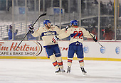 Rochester Amerks winger Matt Ellis (37) celebrates the game winning shootout goal with center Phil Varone during The Frozen Frontier outdoor AHL game against the Lake Erie Monsters at Frontier Field on December 13, 2013 in Rochester, New York.  (Copyright Mike Janes Photography)