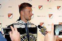 Philadelphia, PA - Thursday January 19, 2018: Ben Lundgaard during the 2018 MLS SuperDraft at the Pennsylvania Convention Center.
