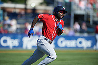 New Hampshire Fisher Cats center fielder Roemon Fields (4) runs to first base during a game against the Reading Fightin Phils on June 6, 2016 at FirstEnergy Stadium in Reading, Pennsylvania.  Reading defeated New Hampshire 2-1.  (Mike Janes/Four Seam Images)