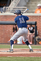 UC Irvine Anteaters shortstop John Brontsema (11) awaits a pitch during game one of a double header against the Tennessee Volunteers at Lindsey Nelson Stadium on March 12, 2016 in Knoxville, Tennessee. The Volunteers defeated the Anteaters 14-4. (Tony Farlow/Four Seam Images)