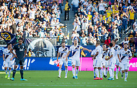 CARSON, CA - SEPTEMBER 29: Zlatan Ibrahimovic #9, Cristian Pavon #10 and Jonathan dos Santos #8 of the Los Angeles Galaxy celebrate a Zman goal during a game between Vancouver Whitecaps and Los Angeles Galaxy at Dignity Health Sports Park on September 29, 2019 in Carson, California.