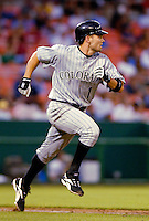13 June 2006: Jamey Carroll, infielder for the Colorado Rockies, hustles to first during a game against the Washington Nationals at RFK Stadium, in Washington, DC. The Rockies defeated the Nationals 9-2 in the second game of the four-game series...Mandatory Photo Credit: Ed Wolfstein Photo..