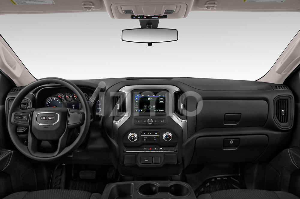 Stock photo of straight dashboard view of a 2019 GMC Sierra 1500 Base 2 Door Pick Up