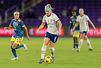 ORLANDO, FL - JANUARY 18: Julie Ertz #8 of the USWNT dribbles during a game between Colombia and USWNT at Exploria Stadium on January 18, 2021 in Orlando, Florida.
