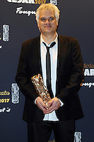 PARIS, FRANCE - FEBRUARY 24: Fabrice Luang-Vija poses with his award Arrivals during the Cesar Film Awards 2017 at Le Fouquet's on February 24, 2017 in Paris, France.