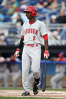 Auburn Doubledays outfielder Dale Carey (8) at bat during a game against the Batavia Muckdogs on August 31, 2014 at Dwyer Stadium in Batavia, New York.  Batavia defeated Auburn 7-6.  (Mike Janes/Four Seam Images)