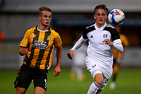 8th September 2020; Abbey Stadium, Cambridge, Cambridgeshire, England; EFL Trophy Football, Cambridge United versus Fulham Under 21; Andrew Dallas of Cambridge Utd competes for the ball with Connor<br /> McAvoy of Fulham