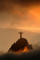 The Christ the Redeemer statue rises above the clouds in Rio de Janeiro, Feb. 29, 2004. The statue was built in 1921 atop the 710 meter Corcovado mountain. (AustralFoto/Douglas Engle)