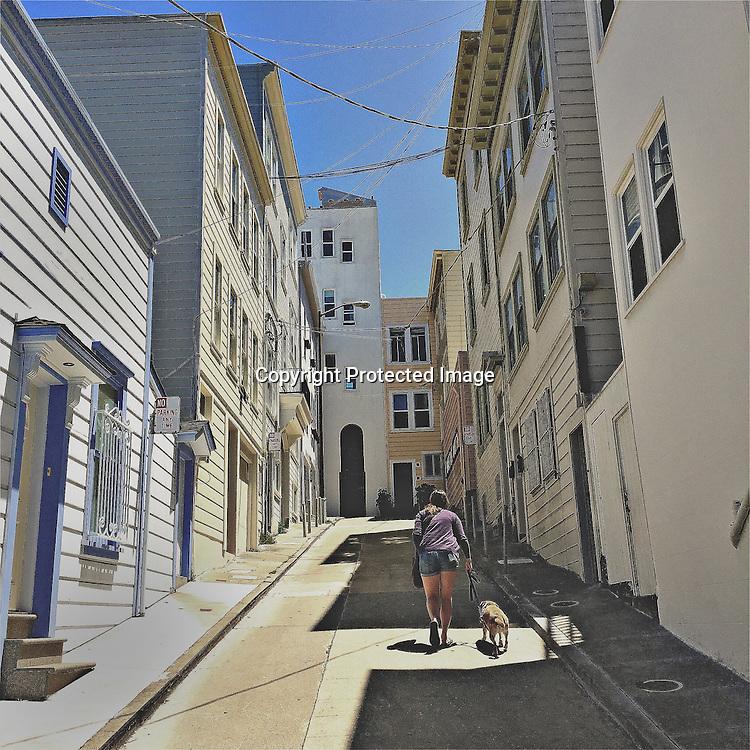 A alley way off Grant Street in San Francisco, CA.