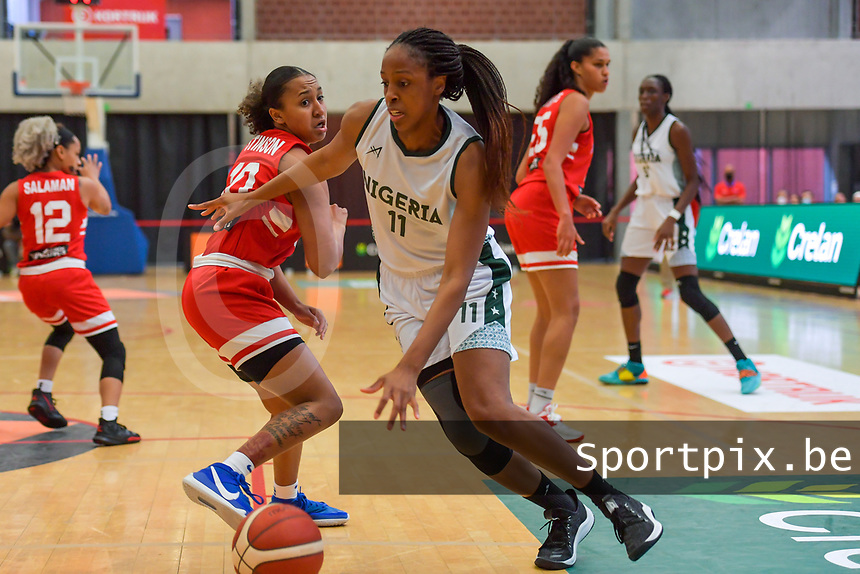 A. Elonu (11) of Nigeria pictured during a basketball game between Nigeria and Puerto Rico on Friday 28 th of May 2021 in Kortrijk , Belgium . PHOTO SPORTPIX.BE | SPP | STIJN AUDOOREN