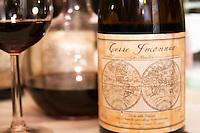 Robert Creus, Domaine Terre Inconnue, Languedoc, France Languedoc. France. Europe. Bottle. Wine glass.