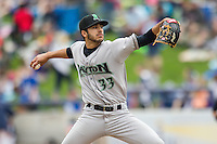 Dayton Dragons pitcher Jose Lopez (33) delivers a pitch to the plate against the West Michigan Whitecaps on April 24, 2016 at Fifth Third Ballpark in Comstock, Michigan. Dayton defeated West Michigan 4-3. (Andrew Woolley/Four Seam Images)