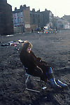 Everton, Liverpool Lancashire 1980s. Wasteland, houses have been knocked down. A market takes place in the background.