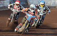 Heat 2: Joe Jacobs (whtie), Ben Morley (red) and Adam Ellis (blue) - Lakeside Hammers vs Wolverhampton Wolves, Elite League Speedway at the Arena Essex Raceway, Pufleet - 04/07/14 - MANDATORY CREDIT: Rob Newell/TGSPHOTO - Self billing applies where appropriate - 0845 094 6026 - contact@tgsphoto.co.uk - NO UNPAID USE
