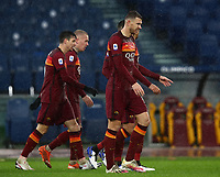 Football, Serie A: AS Roma - Sampdoria calcio, Olympic stadium, Rome, January 3, 2021. <br /> Roma's captain Edin Dzeko (r) celebrates after scoring with his teammates during the Italian Serie A football match between Roma and Sampdoria at Rome's Olympic stadium, on January 3, 2021.  <br /> UPDATE IMAGES PRESS/Isabella Bonotto