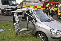 The remains of a Seat Car following collision with an HGV. This image may only be used to portray the subject in a positive manner..©shoutpictures.com..john@shoutpictures.com
