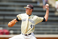 Wake Forest Demon Deacons starting pitcher Brian Holmes #45 in action against the Georgia Tech Yellow Jackets at Wake Forest Baseball Park on April 15, 2012 in Winston-Salem, North Carolina.  The Demon Deacons defeated the Yellow Jackets 11-3.  (Brian Westerholt/Four Seam Images)