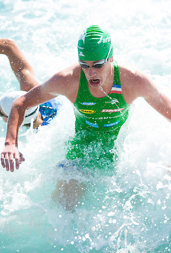 16 SEP 2012 - NICE, FRA - Alistair Brownlee of EC Sartrouville  leaves the water at the end of the swim during the final stage of the men's French Grand Prix triathlon series held during the Triathlon de Nice Côte d'Azur (PHOTO (C) 2012 NIGEL FARROW)