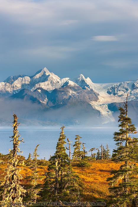 Mount Gilbert viewed across Port Wells, Chugach mountains, Cascade glacier, Chugach National Forest, Prince William Sound, southcentral, Alaska.