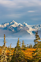 Mount Gilbert viewed across Port Wells, Chugach mountains, Cascade glacier, Chugach National Forest, Prince William Sound, southcentral, Alaska.