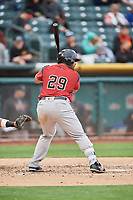 Hector Sanchez (29) of the Sacramento River Cats bats against the Salt Lake Bees at Smith's Ballpark on April 19, 2018 in Salt Lake City, Utah. Salt Lake defeated Sacramento 10-7. (Stephen Smith/Four Seam Images)