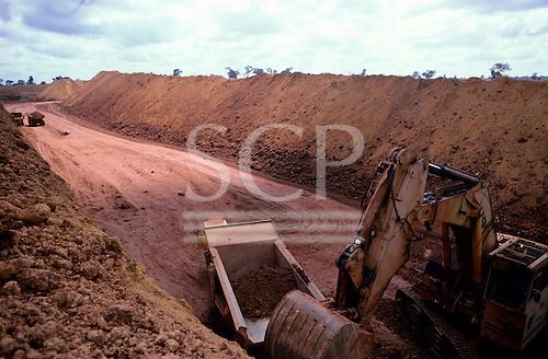 Trombetas bauxite mine, Para, Brazil. Large mechanical digger loading ore onto a dumper truck.