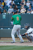 Ryan Dorow (8) of the Down East Wood Ducks at bat against the Winston-Salem Dash at BB&T Ballpark on May 10, 2019 in Winston-Salem, North Carolina. The Wood Ducks defeated the Dash 9-2. (Brian Westerholt/Four Seam Images)