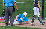 PROSPECT, CT 072231JS27 Torrington's Jake Reynolds (3) slides into home to score on a sacrifice fly by Jimmy Lamanna during the first round of the Tri-State Baseball Playoffs against Blasius Chevrolet Friday at Hotchkiss Field in Prospect. <br /> Jim Shannon Republican American