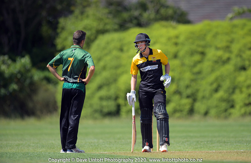 Central's Brad Schmulian and Wellington's Luke Georgeson (right) during the provincial cricket match between the Wellington A and Central Districts A at Karori Park in Wellington, New Zealand on Monday, 6 January 2020. Photo: Dave Lintott / lintottphoto.co.nz