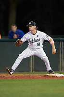 Stetson Hatters first baseman Will Mackenzie (9) during a game against the Siena Saints on February 23, 2016 at Melching Field at Conrad Park in DeLand, Florida.  Stetson defeated Siena 5-3.  (Mike Janes/Four Seam Images)