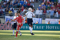 Lee Nguyen heads the ball. The USA defeated China, 4-1, in an international friendly at Spartan Stadium, San Jose, CA on June 2, 2007.