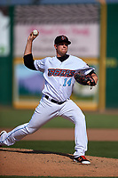 Inland Empire 66ers relief pitcher Aaron Cox (14) delivers a pitch during a California League game against the Lancaster JetHawks at San Manuel Stadium on May 20, 2018 in San Bernardino, California. Inland Empire defeated Lancaster 12-2. (Zachary Lucy/Four Seam Images)