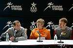 (L -R) Dathan Ritzenhein, Ryan Hall and Brian Sell answer questions at a press conference following the 2008 Men's Olympic Trials Marathon on November 3, 2007 in New York, New York.  The race began at 50th Street and Fifth Avenue and finished in Central Park.  Hall won the race with a time of 2:09:02.