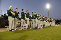 Siena Saints line up for the national anthem lead by head coach Tony Rossi before the opening game of the season against the UCF Knights on February 13, 2015 at Jay Bergman Field in Orlando, Florida.  UCF defeated Siena 4-1.  (Mike Janes/Four Seam Images)