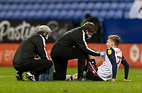 Bolton Wanderers' Harry Brockbank is treated for an injury<br /> <br /> Photographer Andrew Kearns/CameraSport<br /> <br /> The EFL Sky Bet League Two - Bolton Wanderers v Mansfield Town - Tuesday 3rd November 2020 - University of Bolton Stadium - Bolton<br /> <br /> World Copyright © 2020 CameraSport. All rights reserved. 43 Linden Ave. Countesthorpe. Leicester. England. LE8 5PG - Tel: +44 (0) 116 277 4147 - admin@camerasport.com - www.camerasport.com