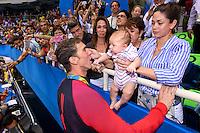 PHELPS Michael USA Gold Medal Men's 100m Butterfly with his wife Nicole JOHNSON, his son Boomer <br /> Rio de Janeiro 09-08-2016 Olympic Aquatics Stadium <br /> Swimming Nuoto <br /> Foto Andrea Staccioli/Deepbluemedia/Insidefoto