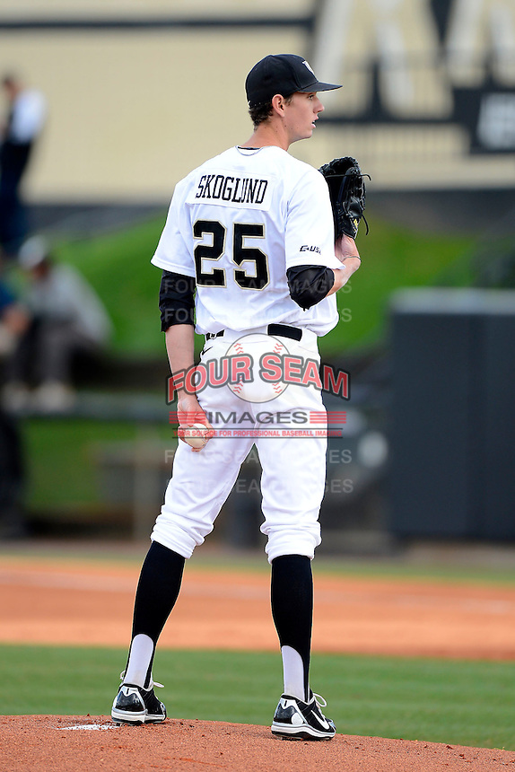 Central Florida Knights pitcher Eric Skoglund #25 during a game against the Siena Saints at Jay Bergman Field on February 16, 2013 in Orlando, Florida.  Siena defeated UCF 7-4.  (Mike Janes/Four Seam Images)